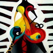 """Monika Wójtowicz, """"Czarna vagaina"""", 100x70, akryl,olej na płótnie,2010 (skradziony)"""